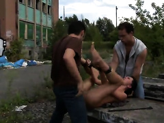 Outdoor rape in threesome for a young amateur babe
