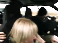 Hot blonde raped on the side of the road by two males
