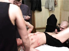 Blonde milf raped by a group of younger studs
