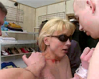 Blonde babe gets raped at the shop by a group of strangers