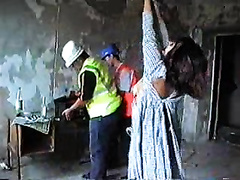 Builders force woman to get naked and give them pussy