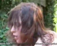 Busty brunette raped by two men in heats
