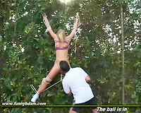 blonde babe rapes on the tennis court and forced to swallow