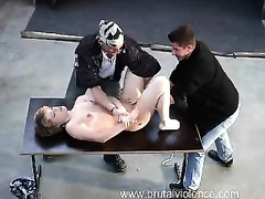 Horny men raping young doll in extreme modes