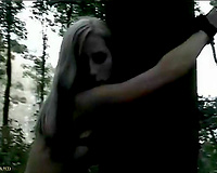 Busty blonde outdoor raped by horny stranger
