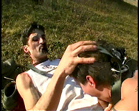 Busty amateur wife rape she fucked on a field by two males with big cocks