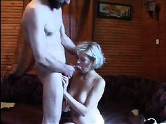 Rape daughter! Blonde babe gets caught by daddy when masturbating