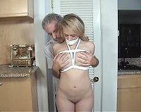 Amateur rape! Naked blonde wife  fully exposed for horny man while being tied up well
