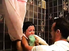 A burglar penetrates the house and rapes a sexy babe in a bathroom