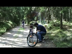 Sexy female bicycle rider gets raped in the woods by a maniac