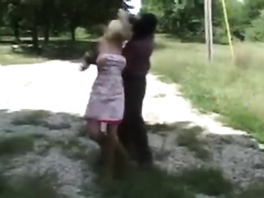 Young blonde gets captured and raped near a car by a masked guy