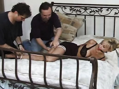 Glamour blonde chick gets tied up and raped by two villains