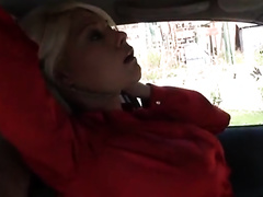 Gorgeous blonde in stockings raped by a criminal in her car