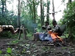 Two bad hunters raped a couple of sexy wives camping in the woods