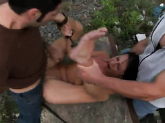 Bound wife gets raped by two dirty-minded perverts outdoors