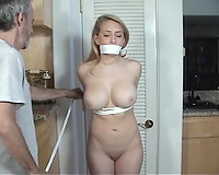 Crazy step dad ties and rapes his submissive busty step daughter