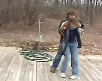 Young sexy wife becomes a victim of a brutal raper on the road