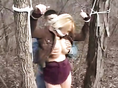 Scared blonde wife gets tied up and raped by two criminals n her house