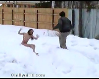 Nude wife get caught by one villain and raped on the snow