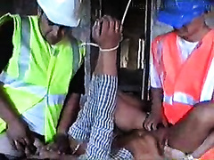 Wife raped by two crazy builders in a house under construction