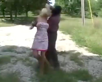 Blonde wife gets undressed and raped by a masked guy in a car