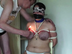 Plump wife tied and raped by a criminal when her hubby was away