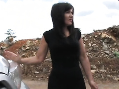 Dark-haired wife kidnapped on a highway and raped by an ugly dude