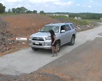 Helpless wife kidnapped by a bad guy helping her with her car