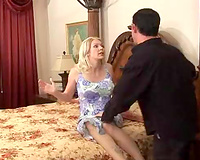 Scared blonde wife raped violently by a horny dude next door