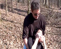 Petite wife kidnapped and raped in a forest by a merciless dude