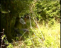 Blonde wife raped by two bad guys in a dirty way outdoors