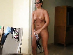Mesmerizing wife strips for husband she a great body spreading her ass and pussy lips