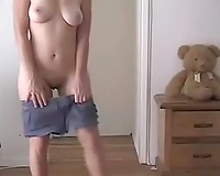 This slutty wife strips for husband friend she fucked with her clothes on