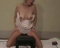 Wibrating saddle plus and strips for friends horny wife whole body jumps and twitches when achieving orgasm