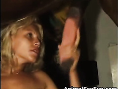 Dark wife skinned rookie gets her cunt destroyed by a horse in this zoo fetish movie