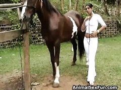 wife fuck horse! Parched whore slurping horse cock for a giant load of cum