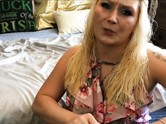 Bitchy wife has a new huge sex toy to rape her own horny snatch