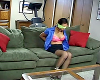 Gagged wife forced to sex and raped roughly by a stud in a mask