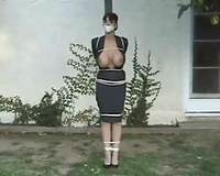Busty wife with sealed mouth gets tied up and raped outdoors