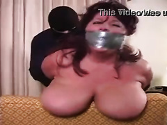 Wife with big bouncing boobs gets mouth sealed and pussy raped