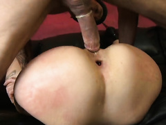 Luscious wife gets her tiny anal hole roughly raped and pumped