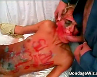 Hot wife gets undressed and smeared by dirty dudes and then raped