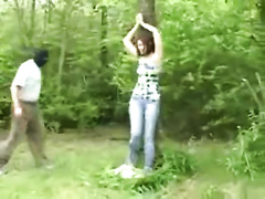 Innocent looking wife gets tied to the tree and raped in the woods