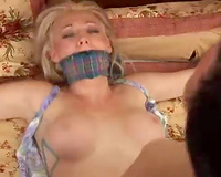 Blonde wife got bound and raped by a  sexual maniac next door
