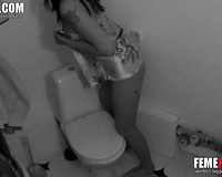 Caught my sister masturbate fingering in toilet on toilet bowl. Hidden cam