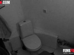 Caught my sister masturbate fingering in toilet on toilet bowl. Hidden cam