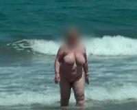 My vacation slut wife naked on the beach