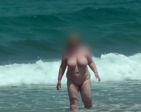 My vacation slut wife naked on the beach