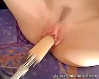 Skinny white dilettante playgirl stuffs a sex toy in her pink muff