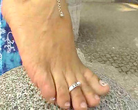 My sultry MILF horny white wife exposes her adorable impure naked feet outdoors